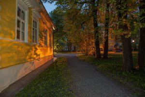 Большое Болдино. Вечернее фото господского дома и памятника А.С.Пушкину