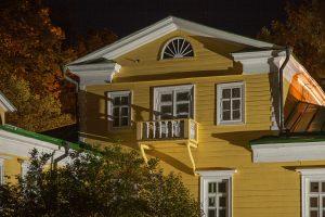 Большое Болдино. Ночное фото господского дома. Усадьба Пушкина